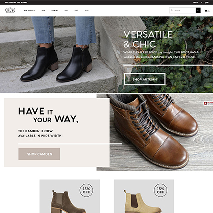 Crevo Footwear Featured ProductCart Site