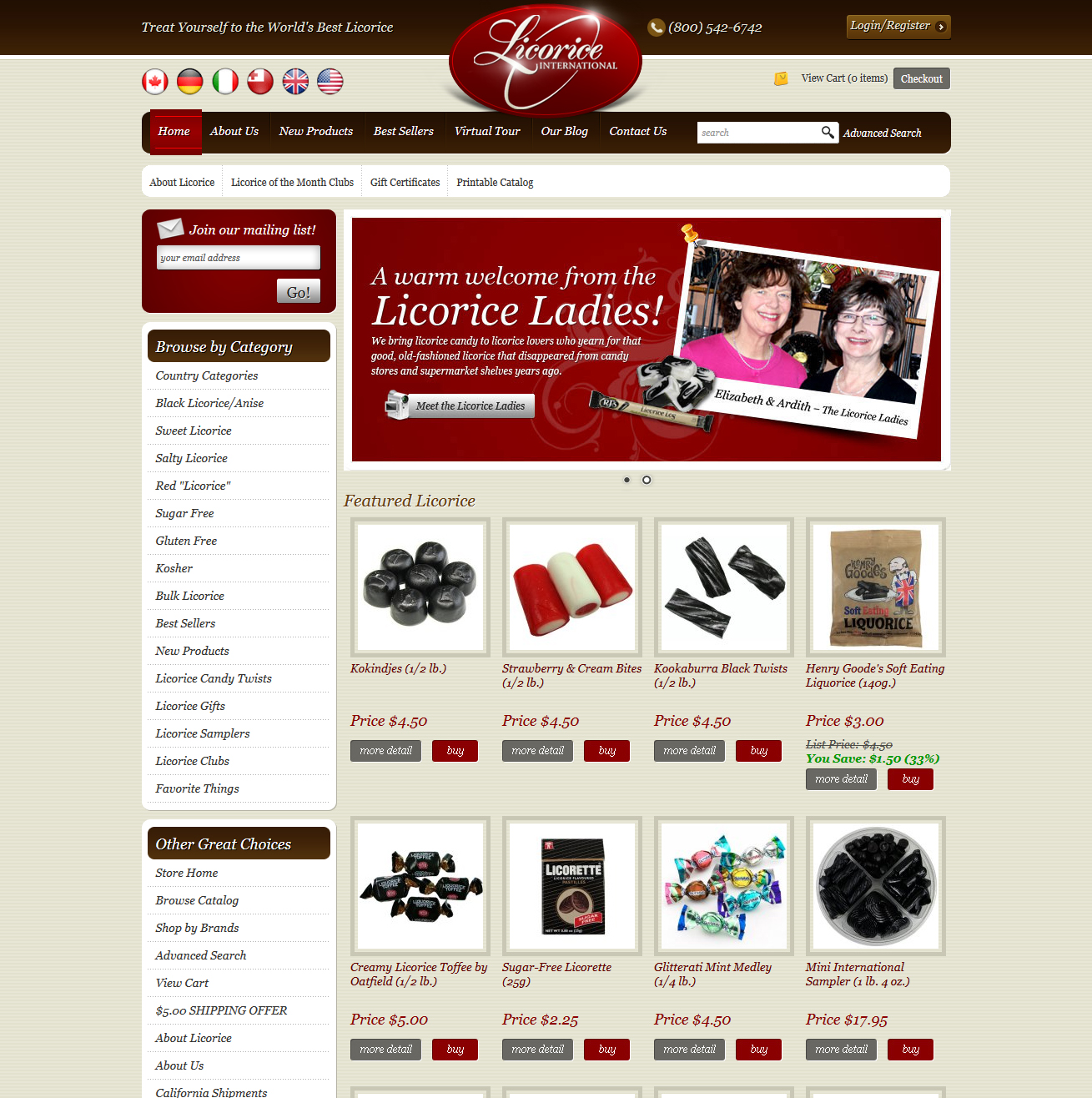 Licorice International Featured ProductCart Site