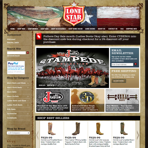 Lone Star Boot Store Featured ProductCart Site