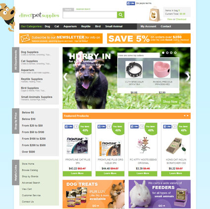 Direct Pet Supplies Featured ProductCart Site