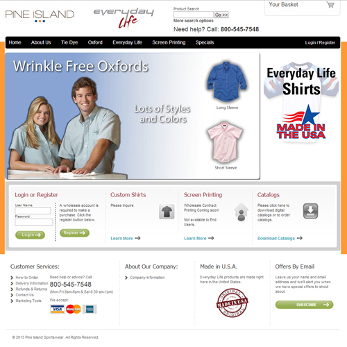 Pine Island Sportswear Featured ProductCart Site