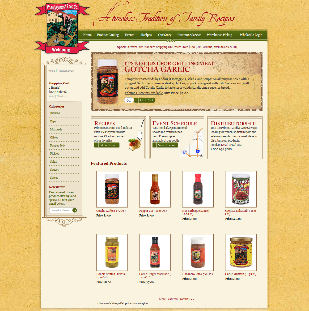 Primos Gourmet Food Featured ProductCart Site