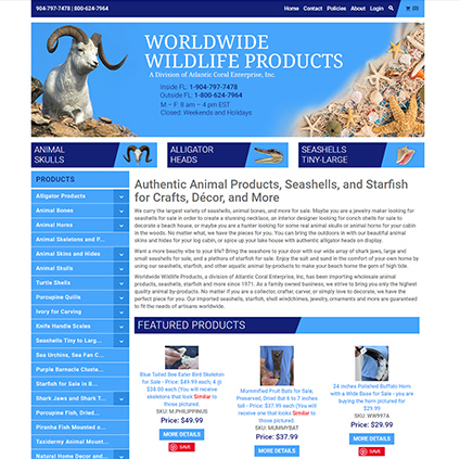 Worldwide Wildlife Products ProductCart Site